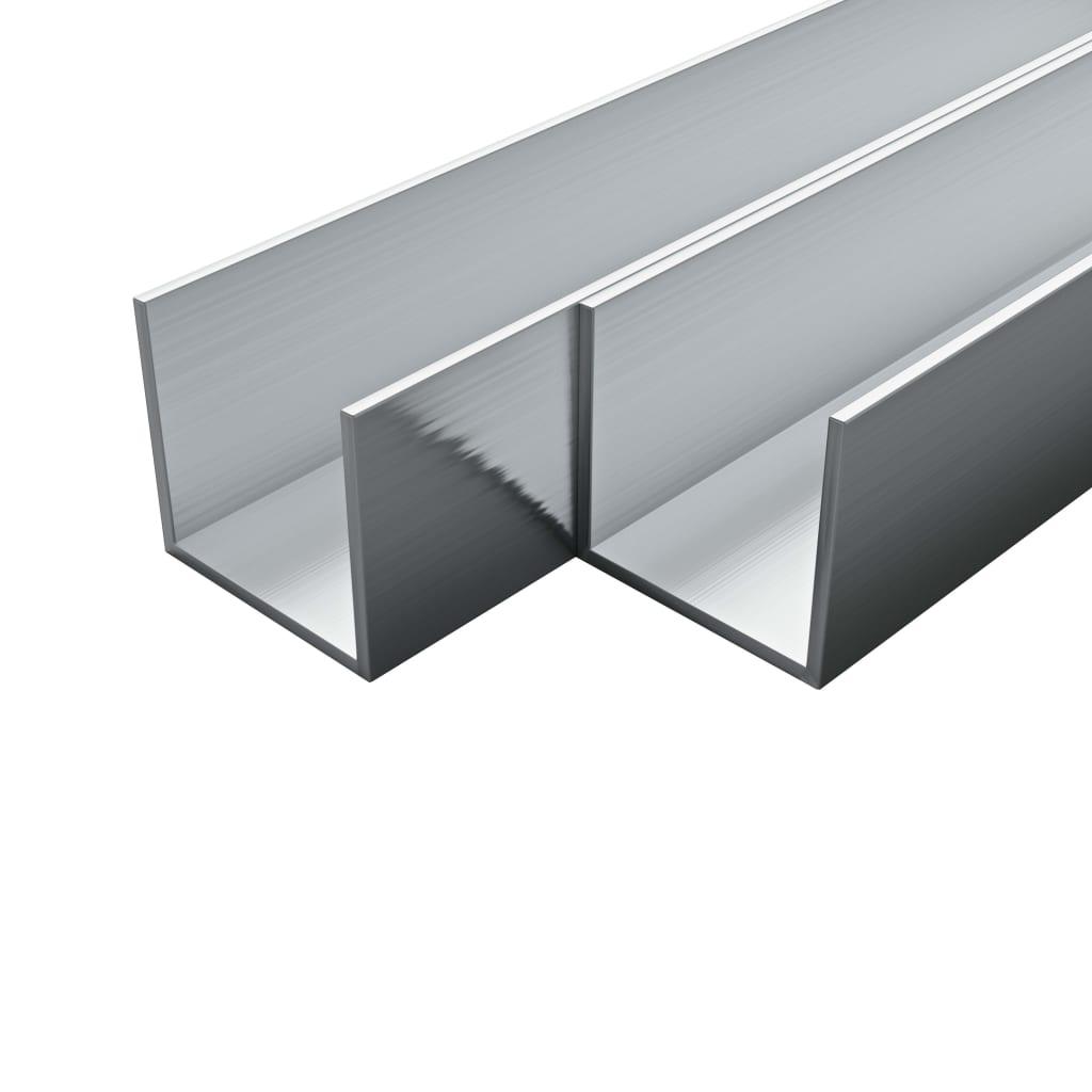 vidaXL Hliníkové kanály 4 ks U profil 1 m 20 x 20 x 2 mm