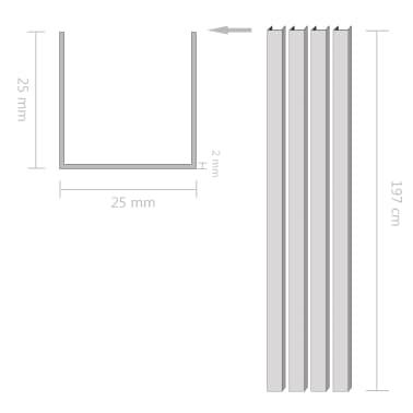 vidaXL Canale din aluminiu cu profil în U, 4 buc., 2 m, 25x25x2 mm[2/2]