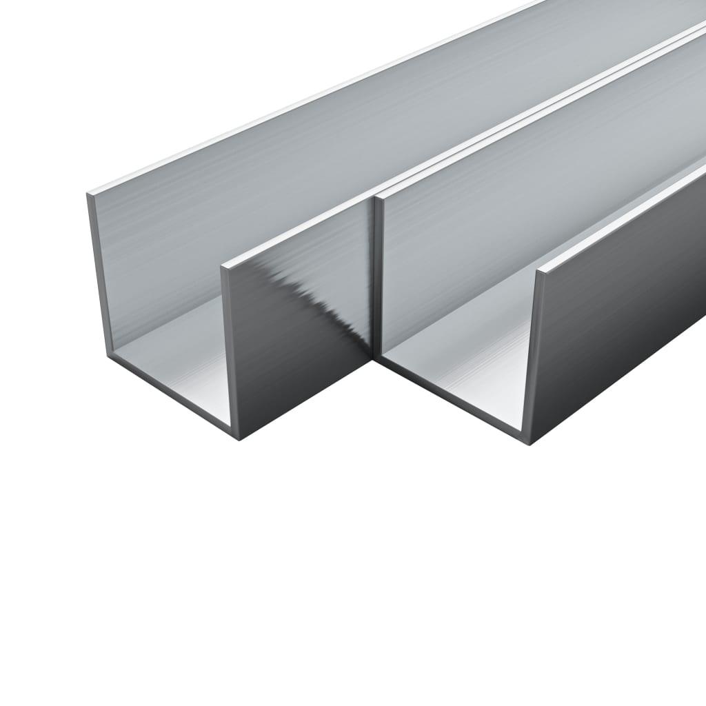 vidaXL Canale din aluminiu cu profil în U, 4 buc., 1 m, 30x30x2 mm imagine vidaxl.ro