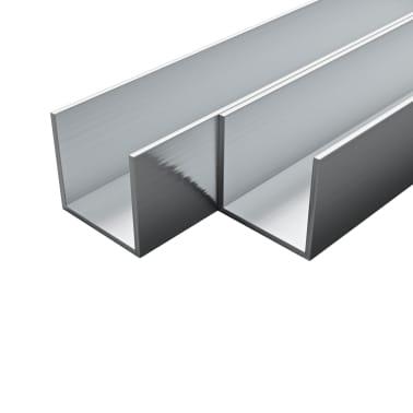 vidaXL Canale din aluminiu cu profil în U, 4 buc., 2 m, 30x30x2 mm[1/2]