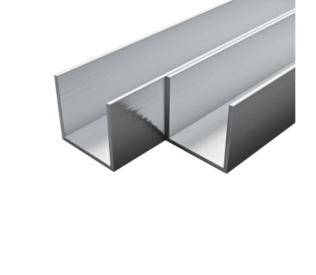 vidaXL Canale din aluminiu cu profil în U, 4 buc., 2 m, 35x35x2 mm[1/2]