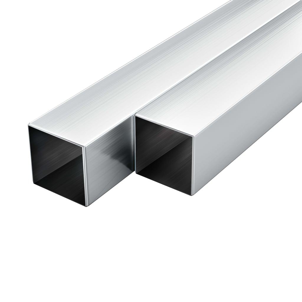 vidaXL Tuburi din aluminiu, secțiune pătrată, 6 buc, 20x20x2 mm, 2 m poza vidaxl.ro