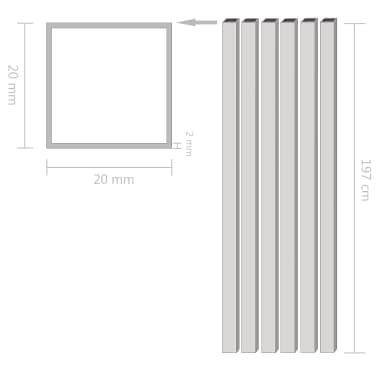 vidaXL Alium. vamzdžiai, 6vnt., 2m, 20x20x2mm, kvad., dėž. form. prof.[2/2]