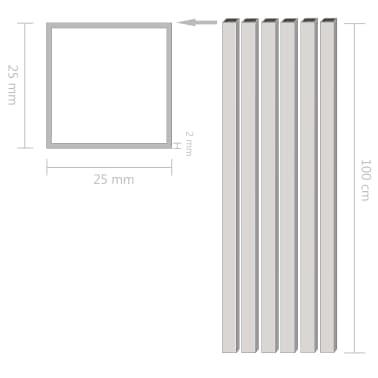 vidaXL Tuburi din aluminiu, secțiune pătrată, 6 buc, 25x25x2 mm, 1 m[2/2]