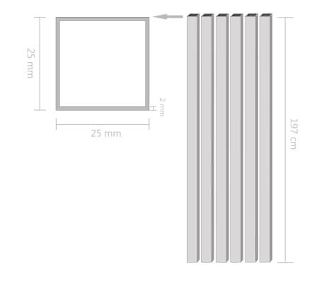 vidaXL Alium. vamzdžiai, 6vnt., 2m, 25x25x2mm, kvad., dėž. form. prof.[2/2]
