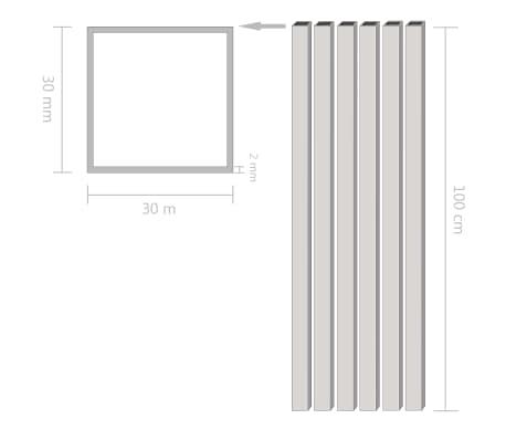 vidaXL Tuburi din aluminiu, secțiune pătrată, 6 buc, 30x30x2 mm, 1 m[2/2]