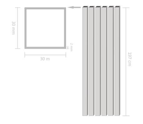 vidaXL Tuburi din aluminiu, secțiune pătrată, 6 buc, 30x30x2 mm, 2 m[2/2]