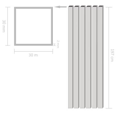 vidaXL Tube avec section carrée Aluminium 6 pcs 2 m 30x30x2 mm[2/2]