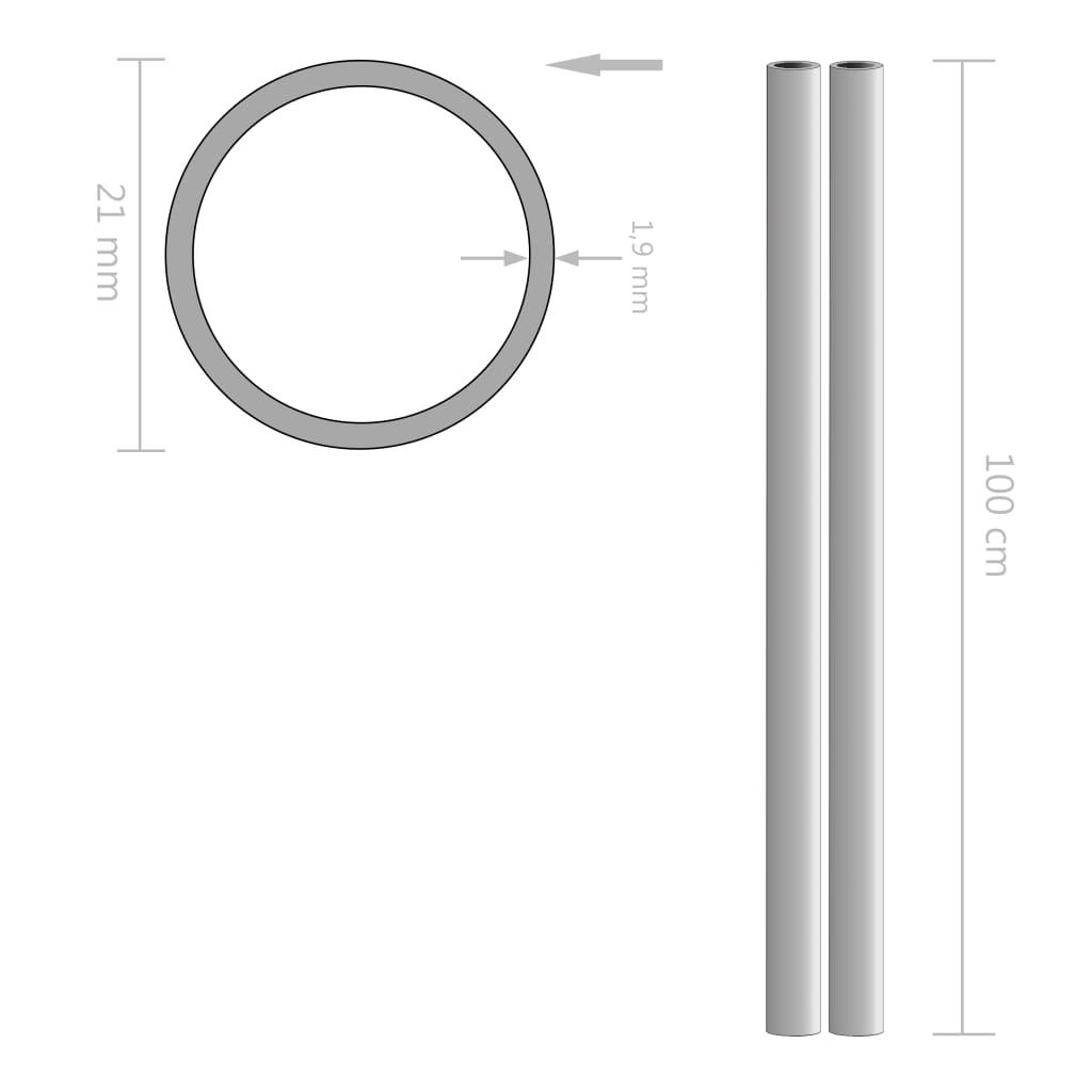 2 tk roostevabast terasest torud, ümar, V2A 1 m Ø21 x 1,9 mm