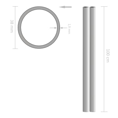 vidaXL Nerūd. plieno vamzdžiai, 2vnt., 1m, skersm. 38x1,9mm, V2A, apv.[2/2]