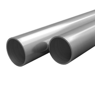 vidaXL Tubos de acero inoxidable redondos 2 unidades V2A 1 m Ø40x1,8mm[1/2]