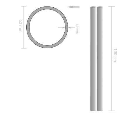vidaXL Tuburi din oțel inoxidabil 2 buc. Ø60x1,9mm rotund V2A 1m[2/2]
