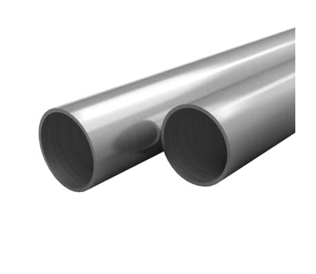 vidaXL Tuburi din oțel inoxidabil 2 buc. Ø60x1,9mm rotund V2A 2m