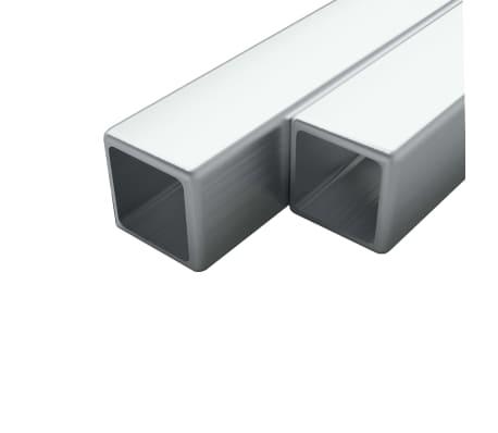 vidaXL Tuburi oțel inoxidabil, 2 buc, 20x20x1,9 mm, pătrat, V2A, 1 m