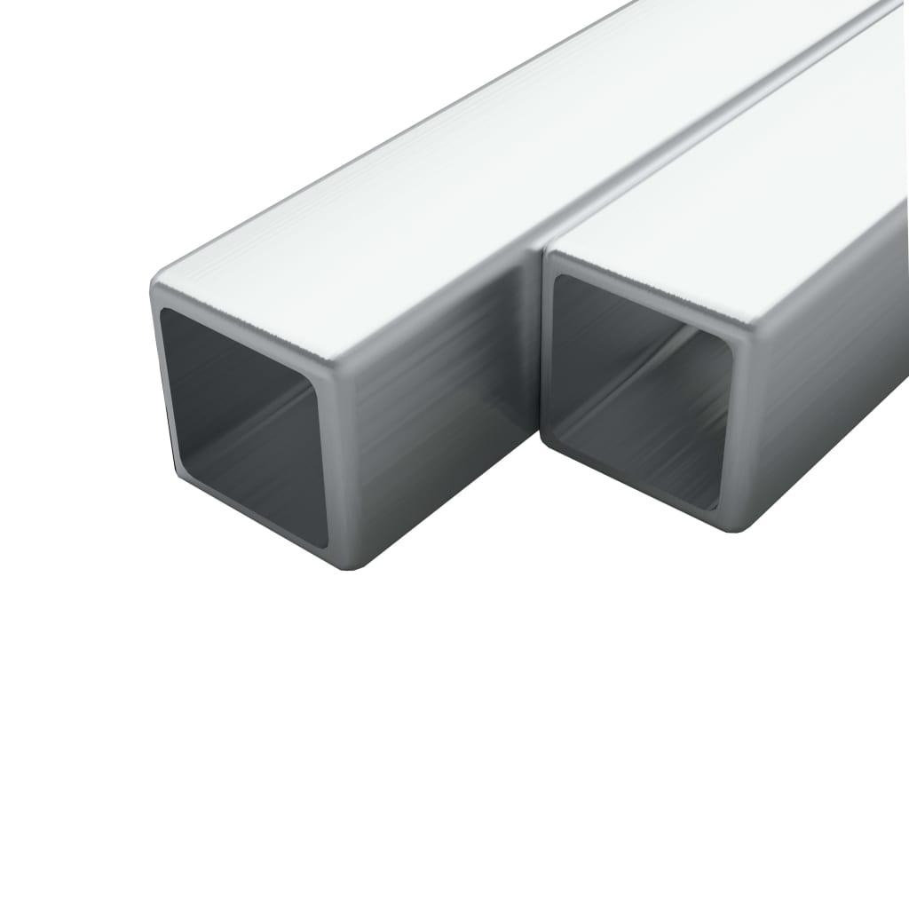 Trubky z nerezové oceli 2 ks průřez čtverec V2A 2m 20x20x1,9 mm