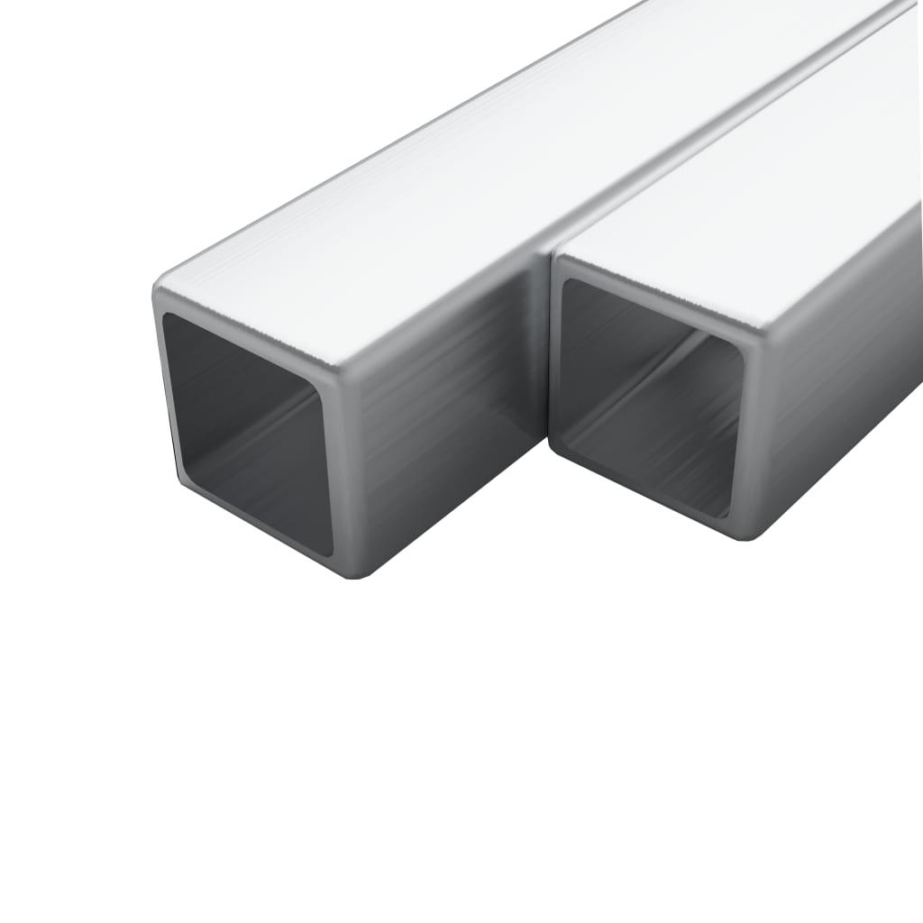 Trubky z nerezové oceli 2 ks průřez čtverec V2A 2m 25x25x1,9 mm