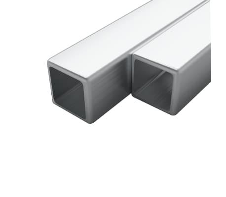 vidaXL Tuburi din oțel inoxidabil 2 buc. 25x25x1,9 mm pătrat V2A, 2m