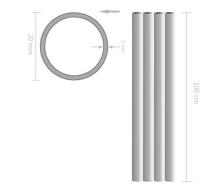 vidaXL Tubos de aluminio redondos 4 unidades 1 m Ø20x2mm[2/2]