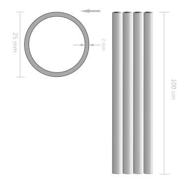 vidaXL Tube rond Aluminium 4 pcs 1 m Ø25x2 mm[2/2]
