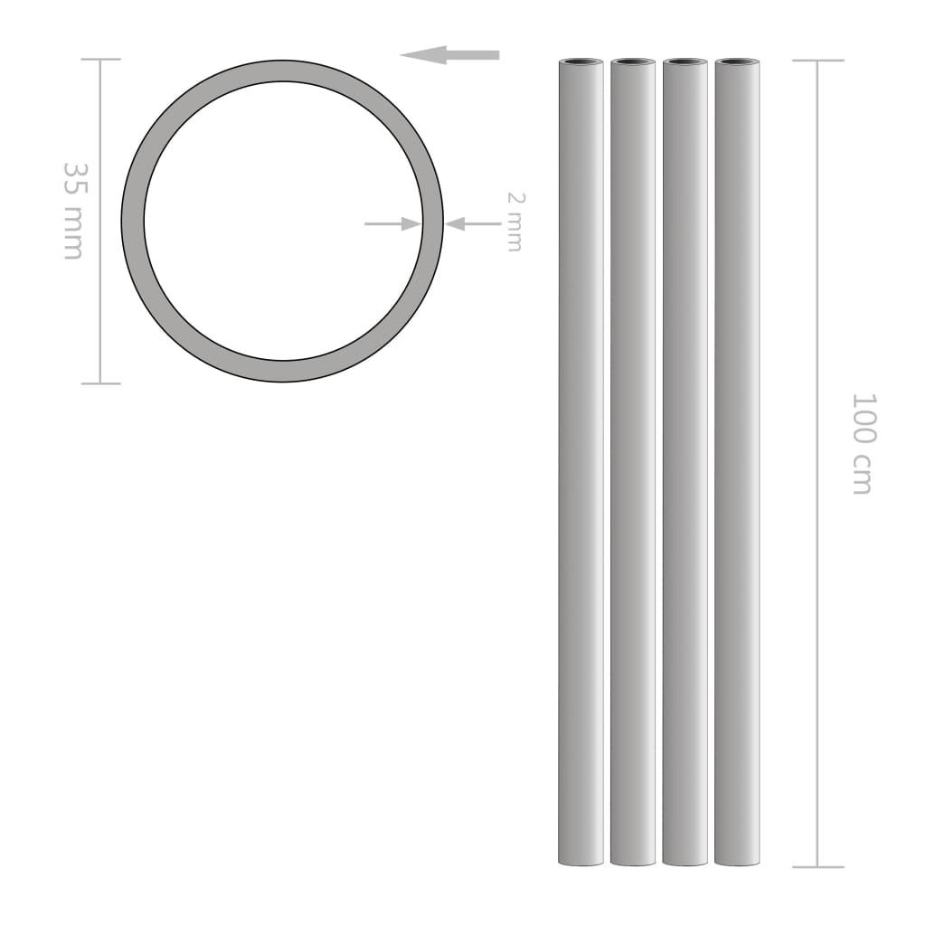 Buizen rond 1m Ø35x2mm aluminium 4 st