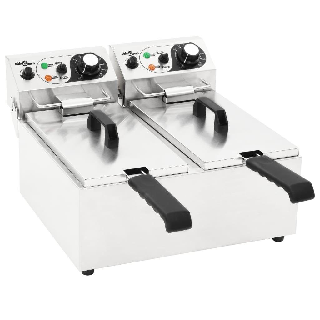 vidaXL Dvojitá elektrická fritéza nerezová ocel 12 l 4 000 W