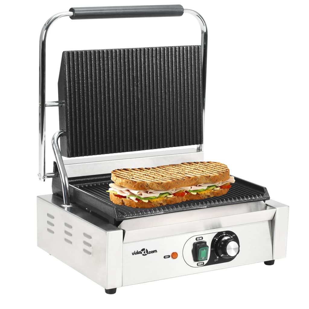 vidaXL Grill panini cu striații, 44 x 41 x 19 cm, 2200 W poza vidaxl.ro