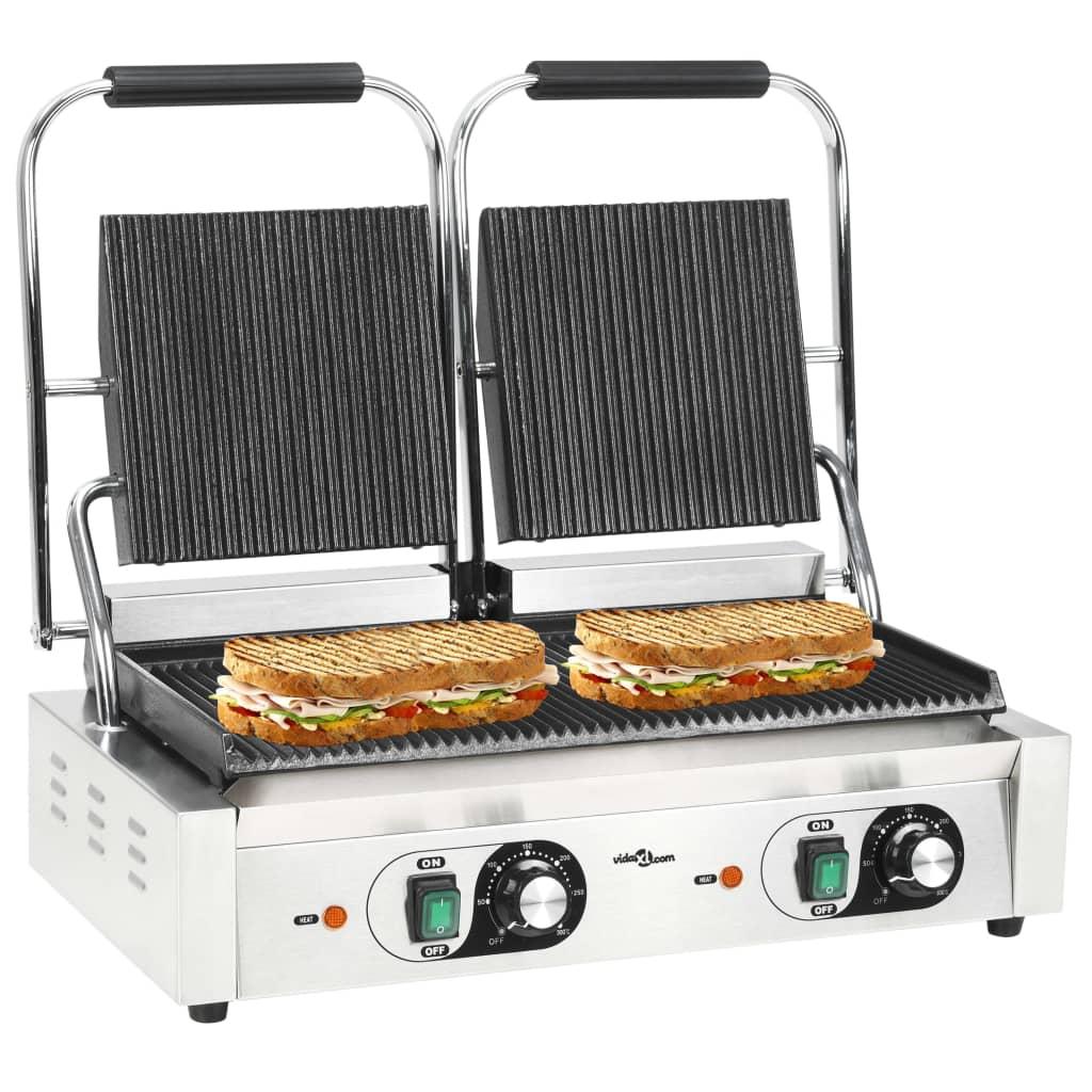 vidaXL Dvojitý panini gril rýhovaný 3600 W 58 x 41 x 19 cm