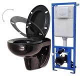 vidaXL fekete kerámia fali WC tartállyal, lágyan csukodó fedéllel