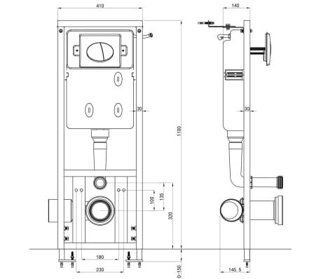 vidaXL Vägghängd toalett med cistern mjuk stängning keramik svart[17/17]