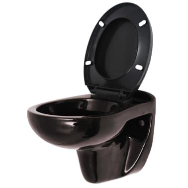 vidaXL Vägghängd toalett med cistern mjuk stängning keramik svart[2/17]