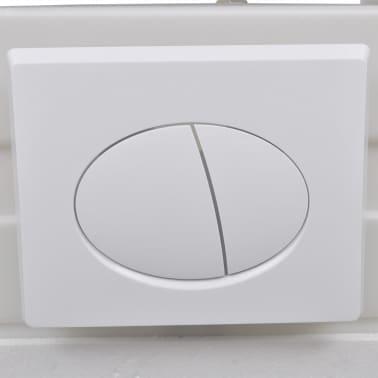 vidaXL Vägghängd toalett med cistern mjuk stängning keramik svart[11/17]