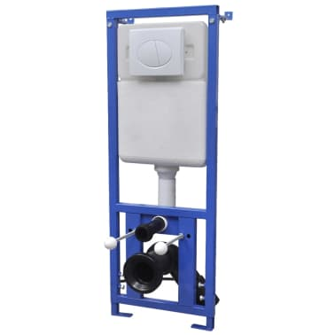 vidaXL Vägghängd toalett med cistern mjuk stängning keramik svart[9/17]