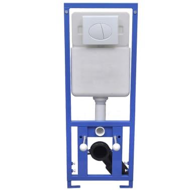 vidaXL Vägghängd toalett med cistern mjuk stängning keramik svart[10/17]