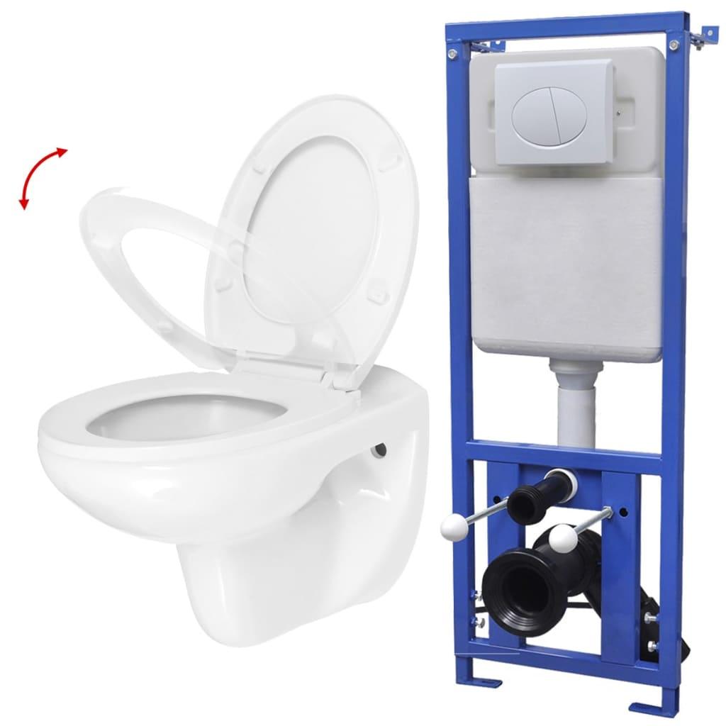 vidaXL Závěsné WC s nádržkou funkce pomalého sklápění keramické bílé