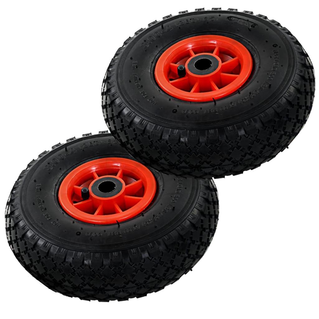 Afbeelding van vidaXL Steekwagenwielen 3,00-4 (260x85) rubber 2 st