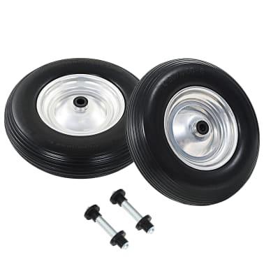 vidaXL trillebørshjul med aksel 2 stk. massivt PU 4.00-8 390 mm[2/6]
