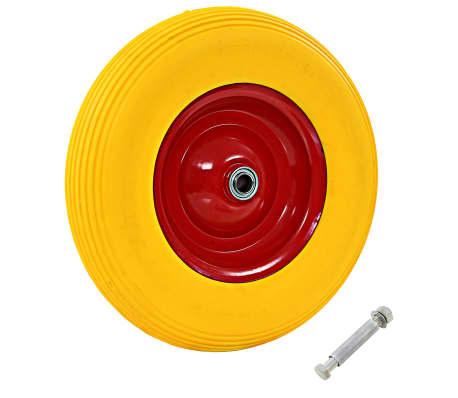 vidaXL Skottkärrehjul med axel massiv PU 4.00-8 390 mm[1/5]