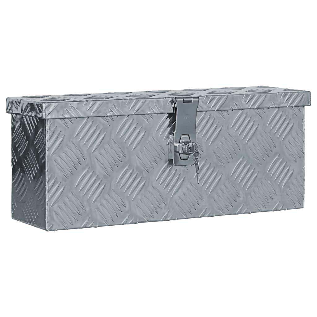 vidaXL Cutie din aluminiu, 48,5 x 14 x 20 cm, argintiu poza vidaxl.ro