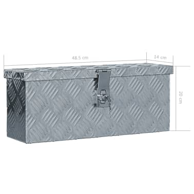 vidaXL aluminiumskasse 48,5 x 14 x 20 cm sølvfarvet[7/7]