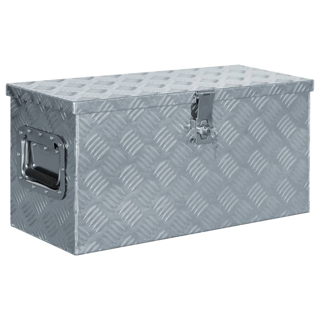 vidaXL Cutie din aluminiu, 61,5 x 26,5 x 30 cm, argintiu poza vidaxl.ro