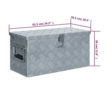 vidaXL Caja de aluminio 61,5x26,5x30 cm plateada[7/7]