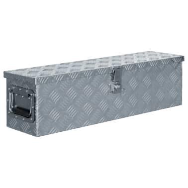 vidaXL Caja de aluminio 80,5x22x22 cm plateada[1/7]