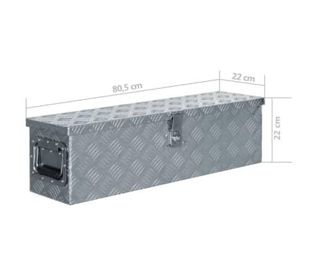 vidaXL Caja de aluminio 80,5x22x22 cm plateada[7/7]