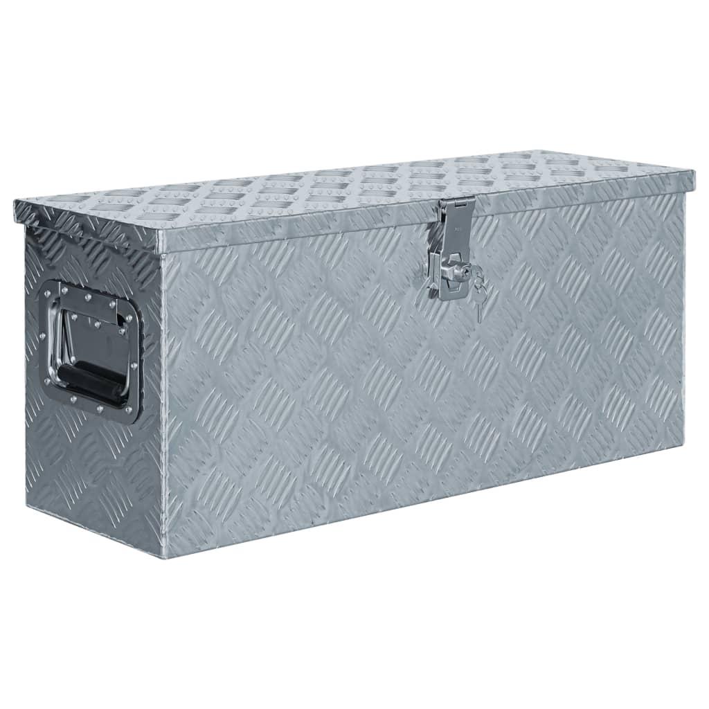 vidaXL Cutie din aluminiu, 76,5 x 26,5 x 33 cm, argintiu poza vidaxl.ro