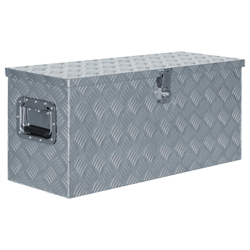 vidaXL Hliníkový box 80 x 30 x 35 cm stříbrný