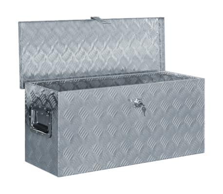 vidaXL Aluminiowa skrzynia, 80 x 30 x 35 cm, srebrna[4/7]