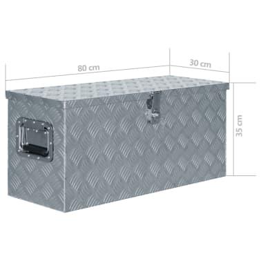 vidaXL Aluminiowa skrzynia, 80 x 30 x 35 cm, srebrna[7/7]