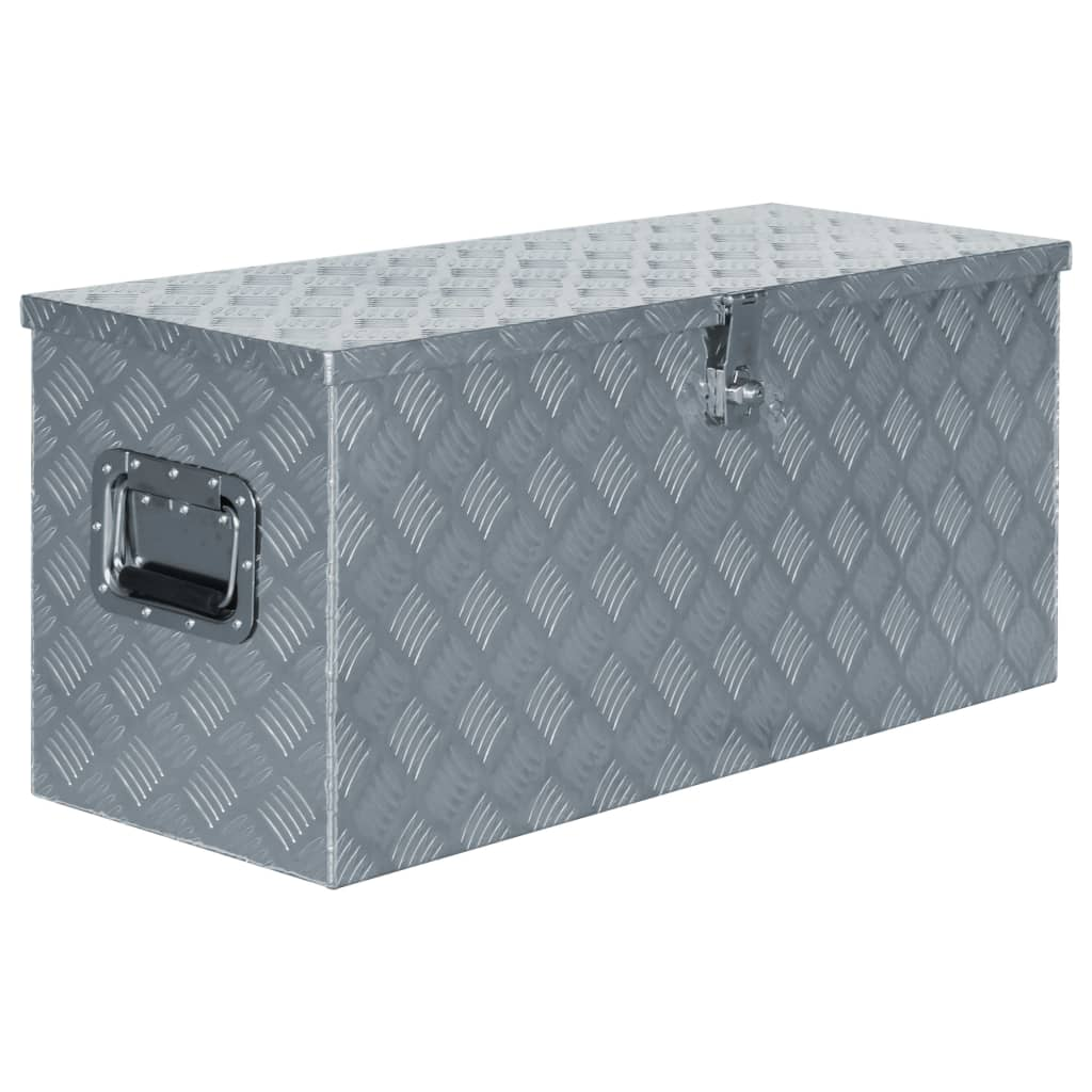 vidaXL Cutie din aluminiu, 90,5 x 35 x 40 cm, argintiu poza vidaxl.ro