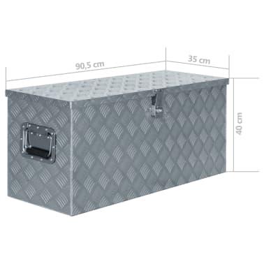 vidaXL Alumiinilaatikko 90,5x35x40 cm hopea[7/7]