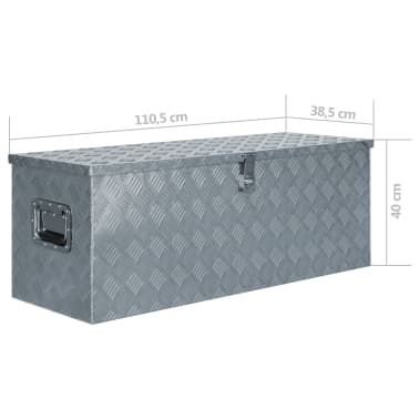 "vidaXL Aluminum Box 43.5""x15.2""x15.7"" Silver[6/6]"